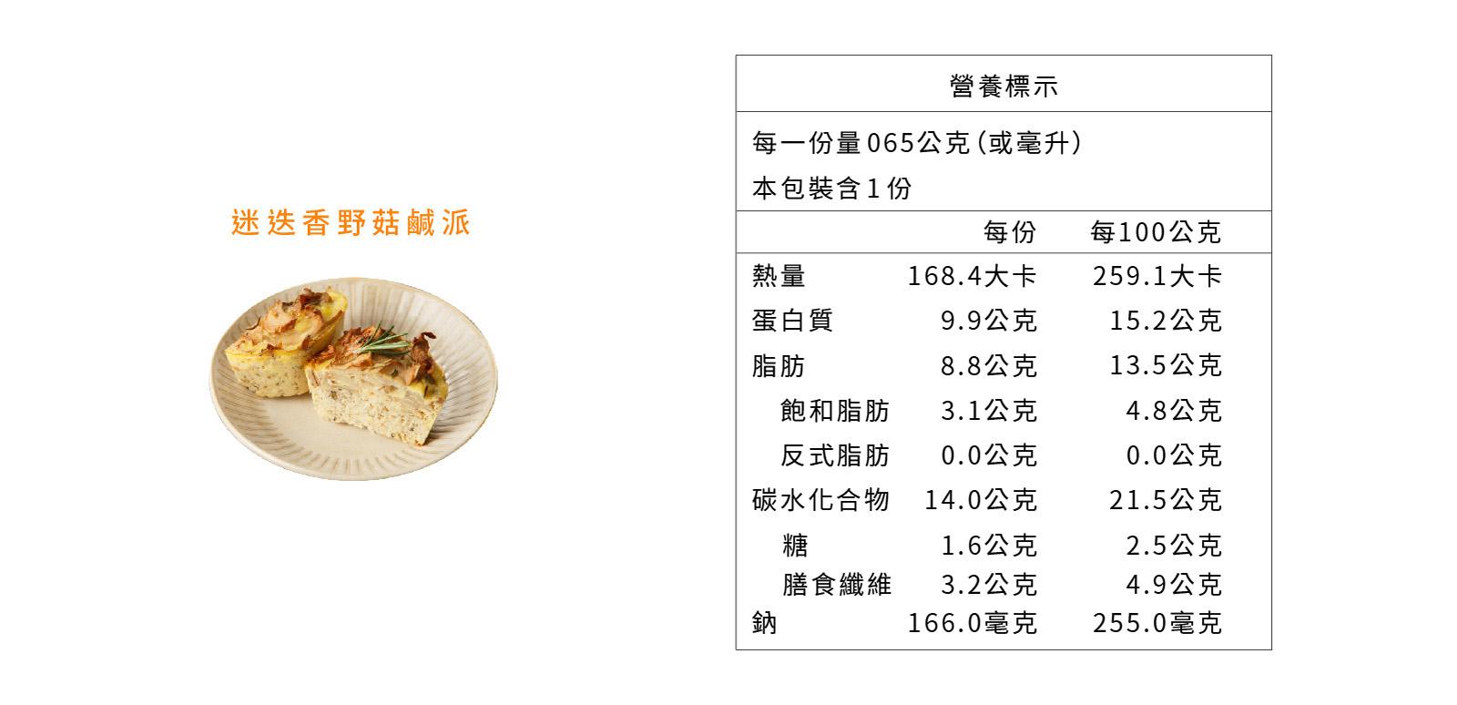迷迭香野菇鹹派營養標示
